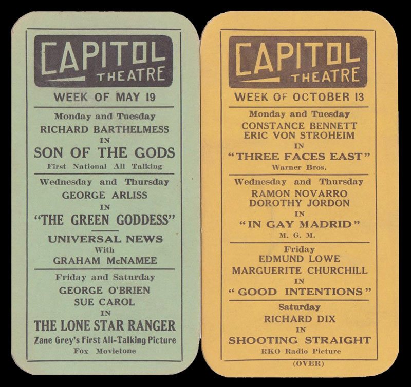 The Capitol Theatre Playbills